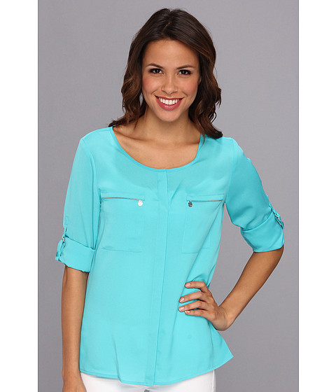 Bluze Anne Klein New York - Roll Sleeve Shirt - Aqua