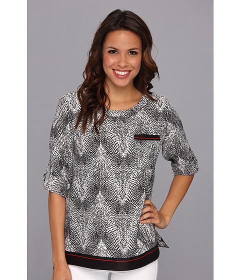 Bluze Anne Klein New York - Border Print Roll Sleeve Shirt - Black/Camellia