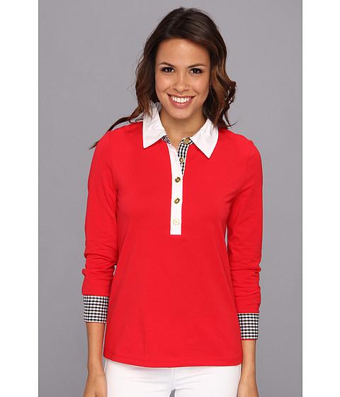 Bluze Jones New York - L/S Polo Shirt w/ Woven Detail - Scarlet