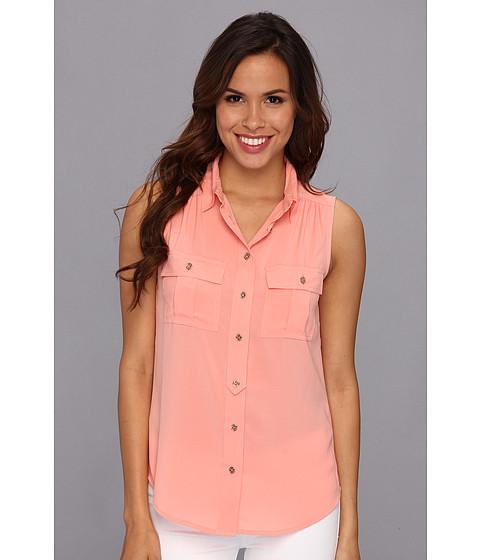 Bluze Calvin Klein - Solid Sleeveless Button Down - Peach
