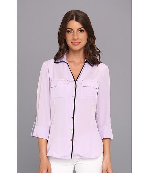 Camasi Jones New York - Roll Tab Shirt w/ Rivet Detail - Lilac/Navy