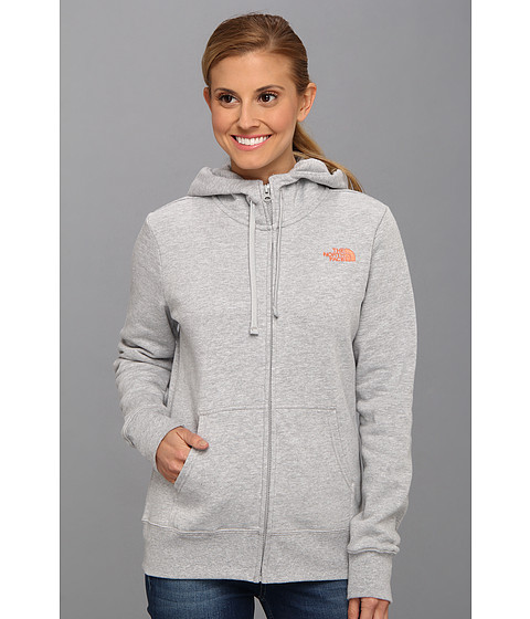 Bluze The North Face - EMB Logo Full Zip Hoodie - Heather Grey/Miami Orange