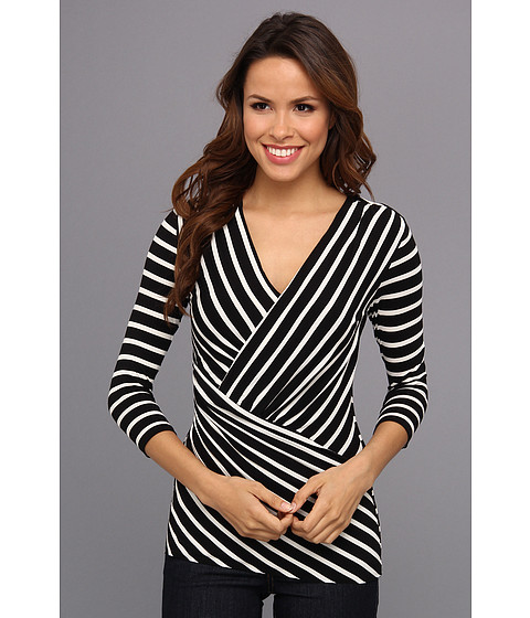 Bluze Vince Camuto - 3/4 Sleeve Asymmetrical Retro Stripes Top - Rich Black