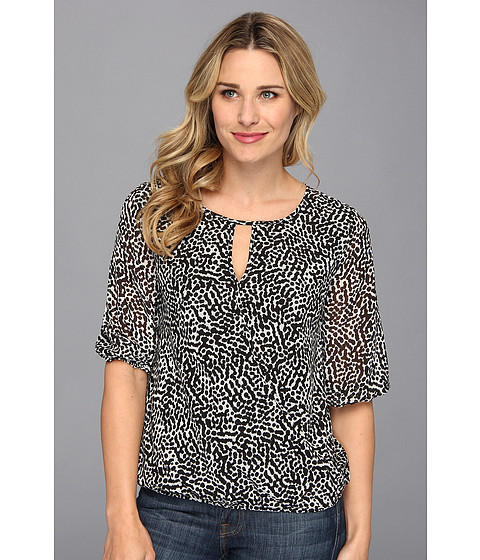 Bluze Vince Camuto - Elbow Sleeve Dot Terrain Wrap Front Blouse - Rich Black