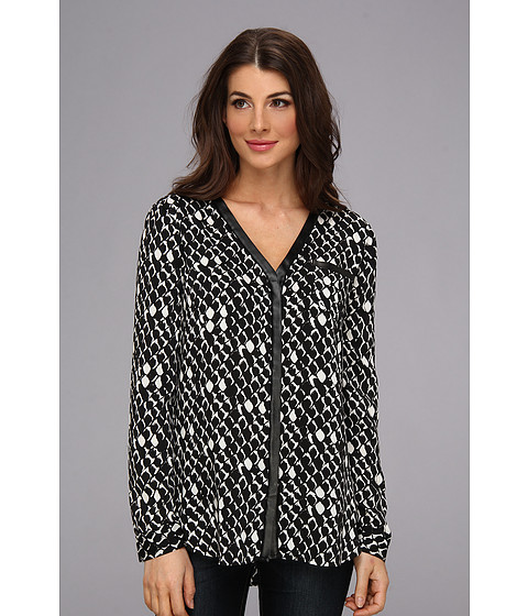 Bluze DKNY - Embossed Snake Lightweigh L/S V-Neck Button Thru Blouse w/ Faux Leather Trim - Black