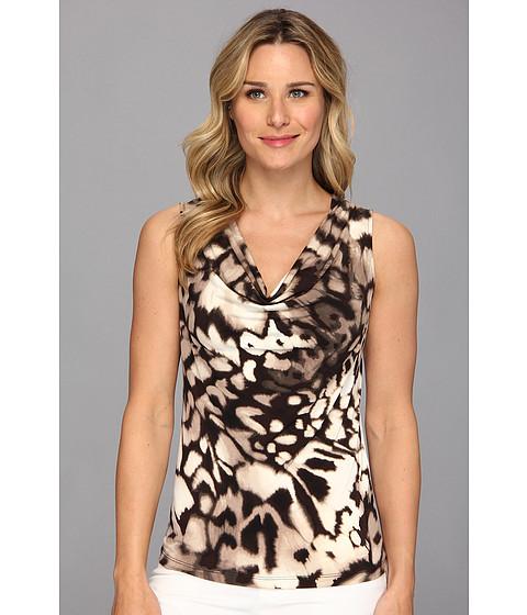 Bluze Calvin Klein - Sleeveless Printed Cowl Neck Top - Birch Combo
