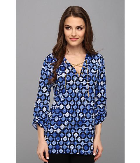 Bluze MICHAEL Michael Kors - Petite Matte Jersey Chain Lace Up Tunic - Amalfi Blue