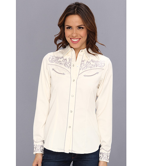 Camasi Roper - Solid Cream Twill W/Border - White