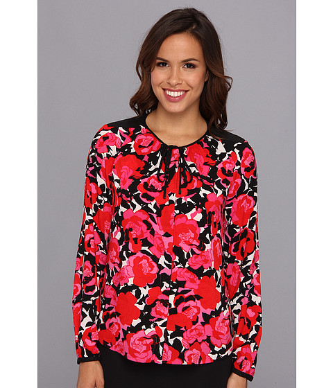 Bluze Anne Klein New York - Floral Print L/S Blouse - Red/Dahlia Multi