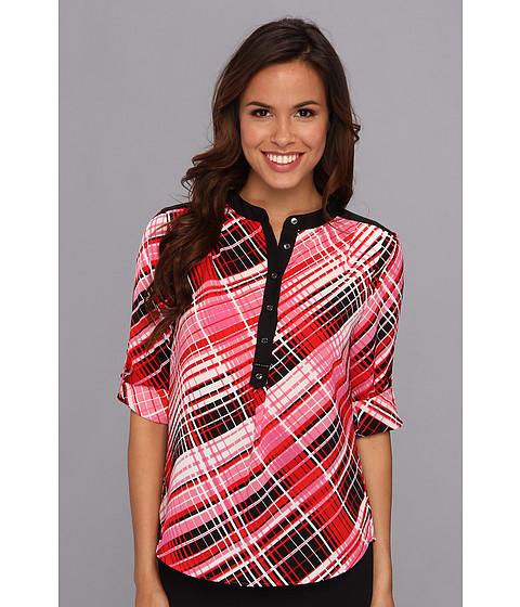 Bluze Anne Klein New York - Plaid Print L/S Blouse - Red Multi