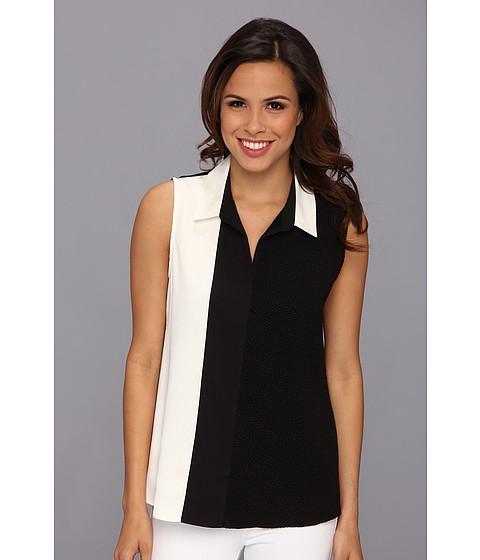 Bluze Calvin Klein - Poly CDC S/L Cblk Top w/ Collar - Birch