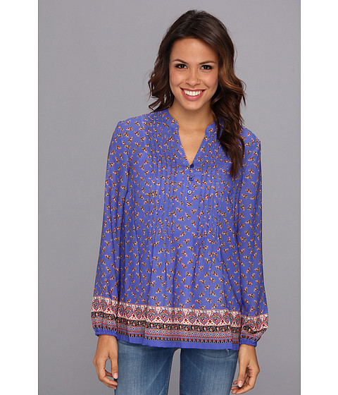 Bluze Jones New York - Long Sleeve Pintucked Top w/ Henley Placket - Seaport Blue Multi