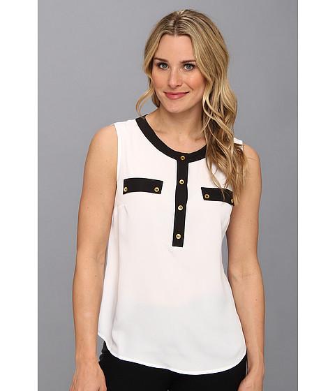 Bluze Jones New York - Sleeveless Blouse w/ Button Up Placket - White/Black