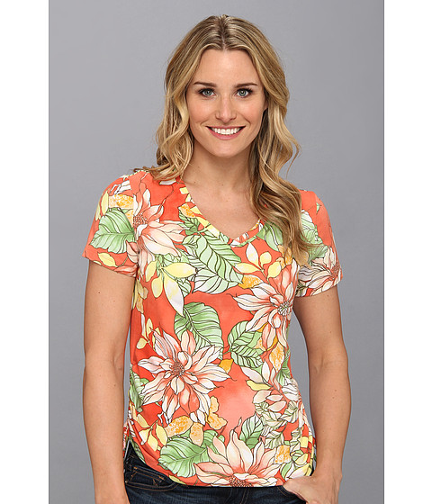 Bluze Caribbean Joe - S/S Side Rouch w/ V-Neck - Grenadine Orange