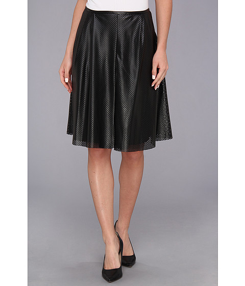 Fuste Calvin Klein - Perforated Polyurethane Pleated Skirt - Black
