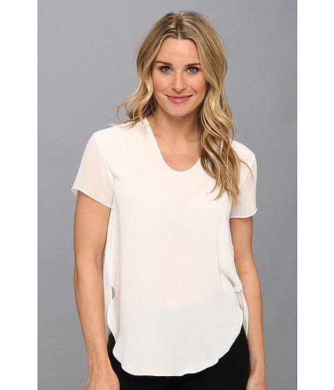 Bluze Calvin Klein - Sheer Front Woven Tee - Blanc
