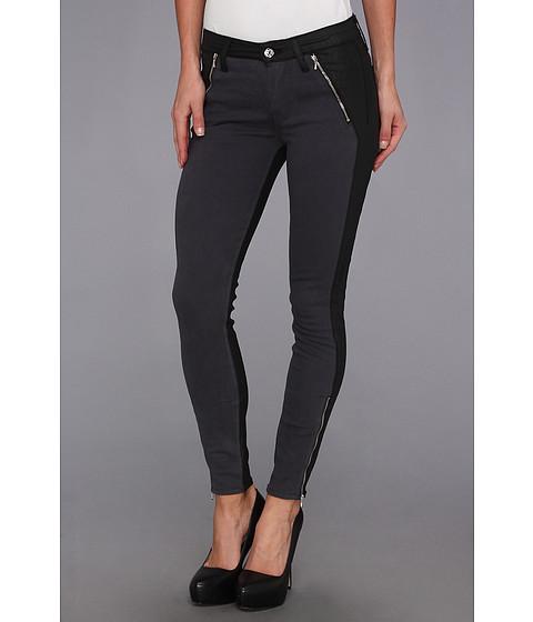 Pantaloni 7 For All Mankind - Fashion Zipped Skinny in Grey Sateen w/ Jeather - Grey Sateen w/ Jeather