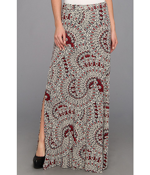 Fuste Three Dots - High Waist Maxi Skirt w/ Side Slits - Red/White/Blue Combo