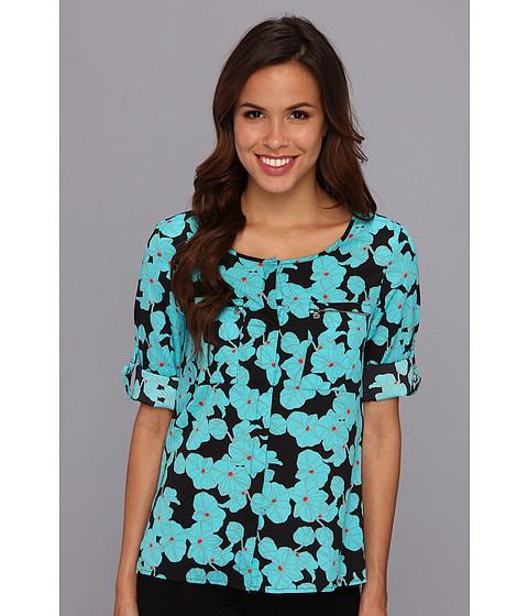 Camasi Anne Klein - Orchid Print Roll Sleeve Shirt - Aqua/Black