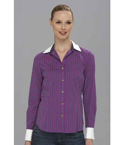 Camasi Anne Klein - Purple Stripe Shirting Top - Multi