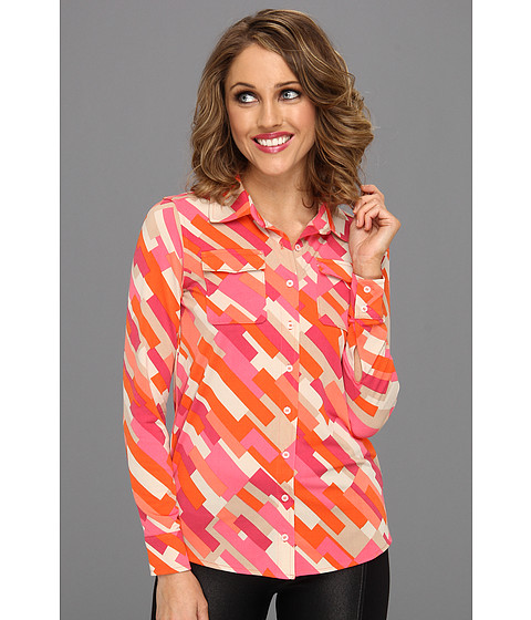 Camasi Anne Klein - Petite Color Block Print L/S Shirt - Carnelian Multi