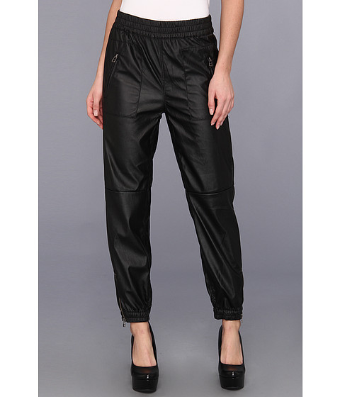 Pantaloni Blank NYC - Vegan Leather Jogger Pants in Black Bean - Black Bean