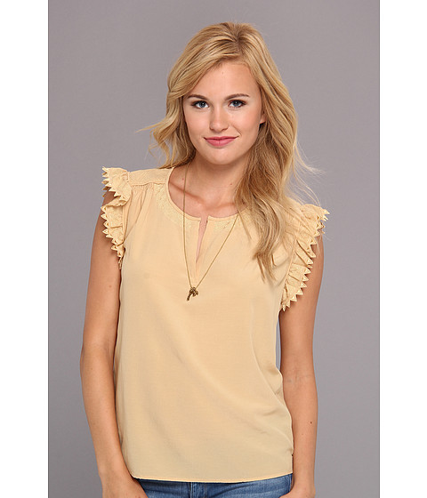 Bluze Maison Scotch - Silk Top w/ Embroidered Rufflles - Buttercup