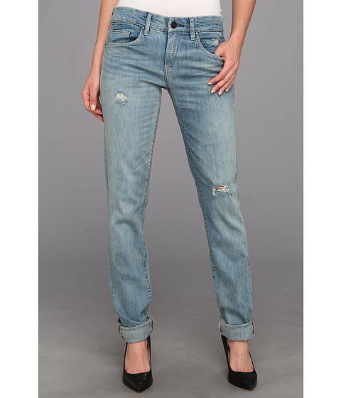 Blugi Blank NYC - Galaxy Relaxed Straight Boyfriend w/ Rips in Denim Blue - Denim Blue