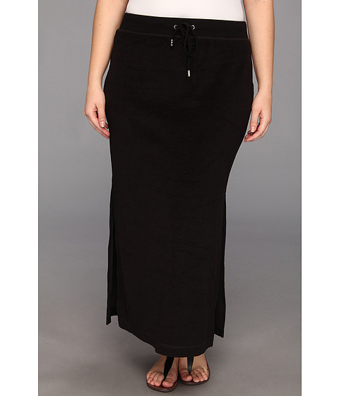 Fuste MICHAEL Michael Kors - Plus Size Terry Cloth Maxi Skirt w/ Side Slits - Black/Silver