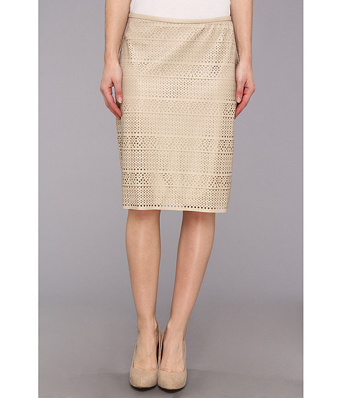 Fuste Calvin Klein - Faux Leather Perforated Skirt - Latte