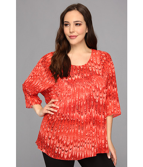 Bluze MICHAEL Michael Kors - Plus Size Marble Printed Flowy Top - Hot Coral