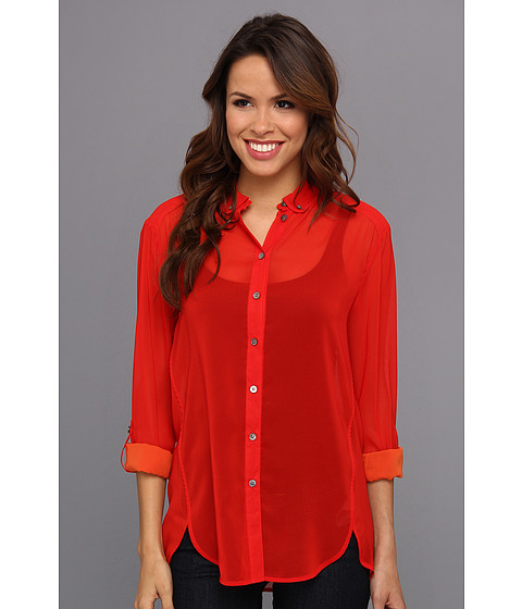 Bluze Vince Camuto - L/S Two-Tone Roll Tab Shirt - Classic Red