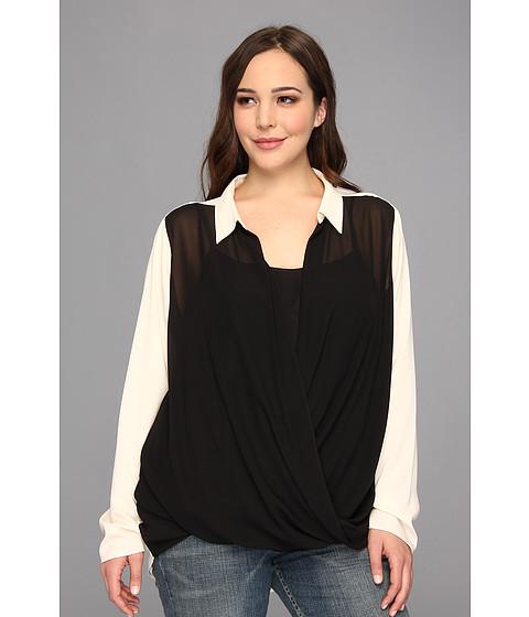 Bluze DKNY - Plus Size Washed Chiffon L/S Drape Front Blouse w/ Crepe De Chine Sleeves Back & Collar - Black