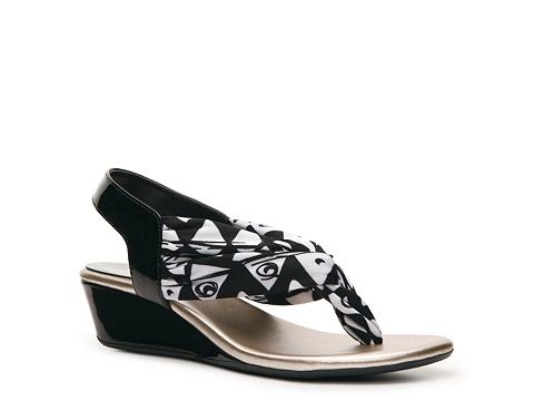 Sandale Impo - Gypsy Wedge Sandal - Black/White