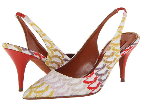 Pantofi Missoni - Crochet Wave Slingback Pump - Red/Yellow/Multi