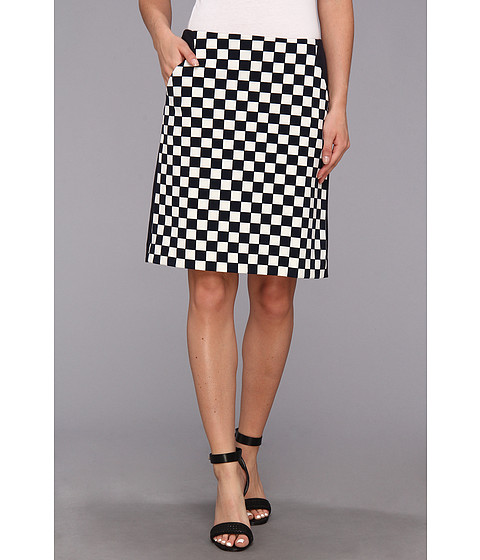 Fuste Anne Klein New York - Check Print A-Line Skirt - Midnight/Camellia