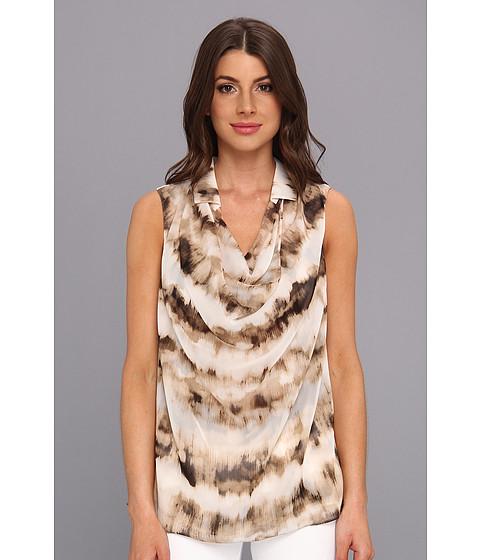 Bluze Calvin Klein - S/L Collared Cowl Top - Black/Ivory