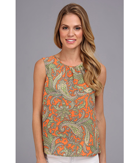 Bluze Jones New York - Gathered Neck Line Shell - Orange Zest Multi