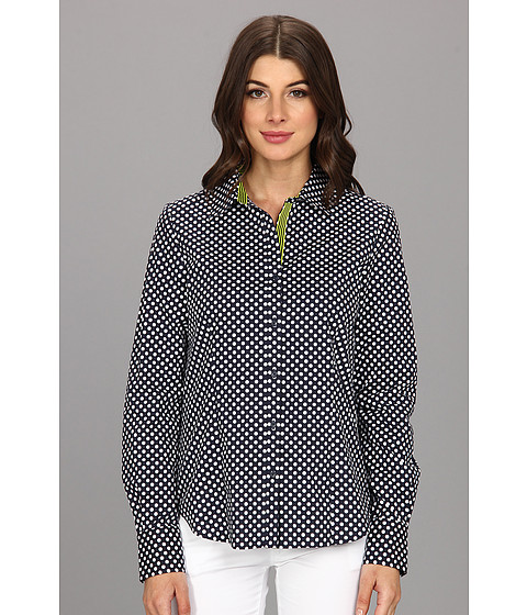 Camasi Anne Klein - Dot Print Button Front Shirt - Midnight/White