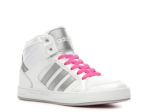Adidasi adidas - NEO Raleigh High-Top Sneaker - Womens - White/Silver/Pink