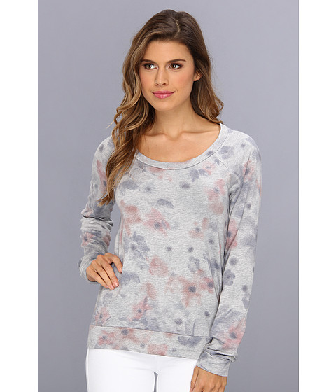 Bluze Splendid - Faded Floral Sweatshirt - Heather Grey