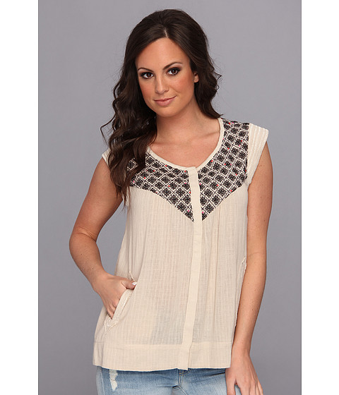 Bluze Lucky Brand - Beaumont Embroidered Top - Natural Multi