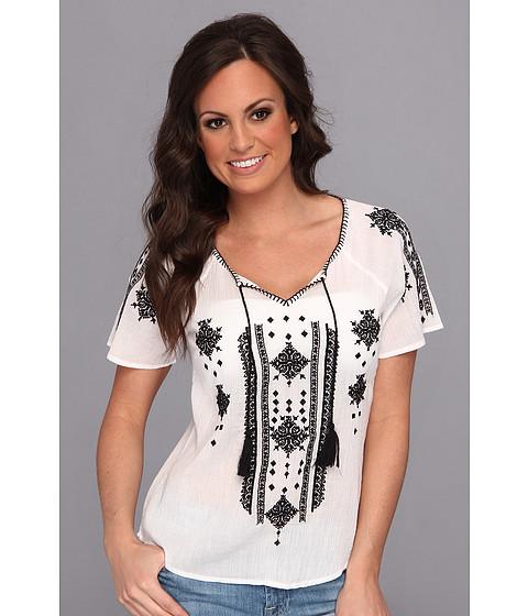 Bluze Lucky Brand - Black & White Embroidered Peasant - White Multi