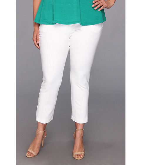 Pantaloni DKNY - Plus Size Super Stretch Sateen Ankle Cropped Pant - White