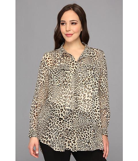Bluze Vince Camuto - Plus Size Two-Pocket Leopard Stream Shirt - Rich Black