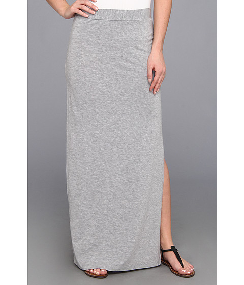Fuste Splendid - Column Maxi Skirt with Side Slit - Heather Grey