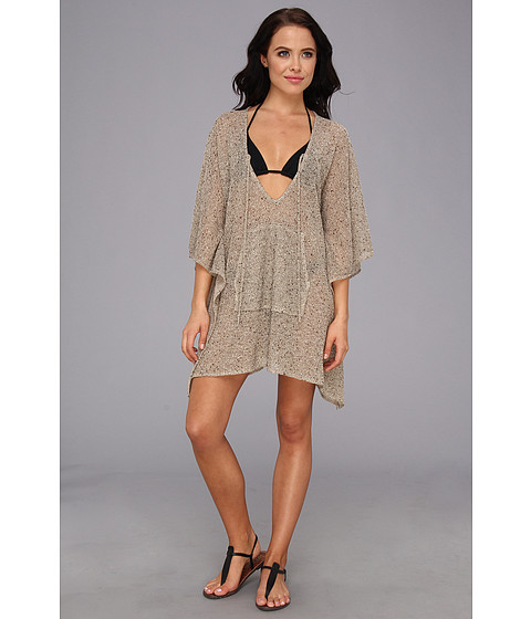 Costume de baie Echo Design - Metallic Boucle Kangaroo Poncho Coverup - Khaki