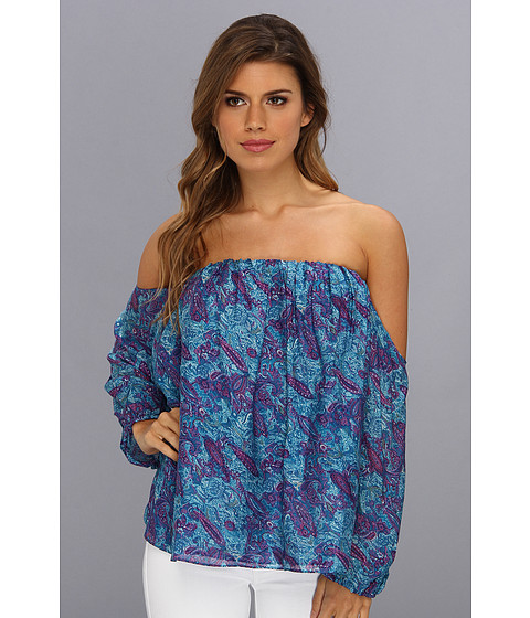 Bluze Tbags Los Angeles - Paisley Cut-Out Long Sleeves Off Shoulder Top - Turquoise