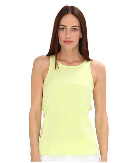 Bluze Tibi - Heavy Washed Silk CDC Cape Back Top - Lime Sorbet