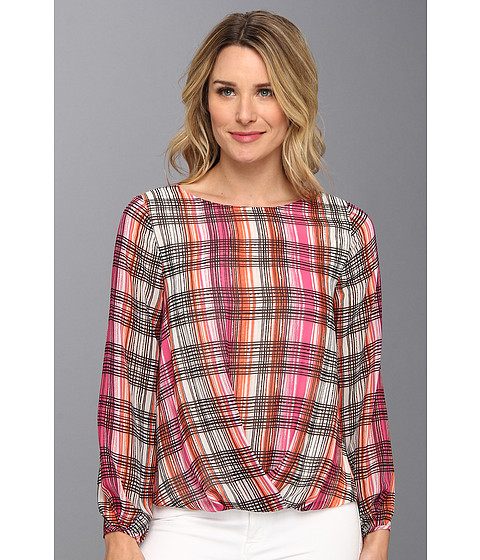 Bluze Vince Camuto - L/S Dry Brush Plaid Center Fold Blouse - Dark Pink